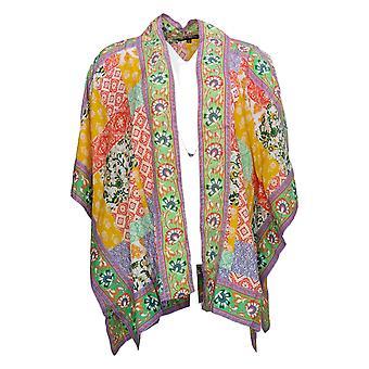 Tolani Collection Women's Petite Top Open Front Woven Kimono Yellow A373845