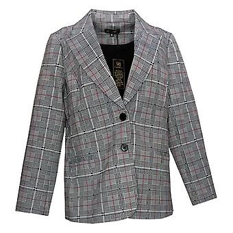 DG2 by Diane Gilman Women's Suit Jacket Plaid Double Breasted Black 671263