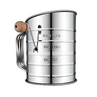 Stainless Steel 3-cup Flour Sifter - Lid And Bottom Cover