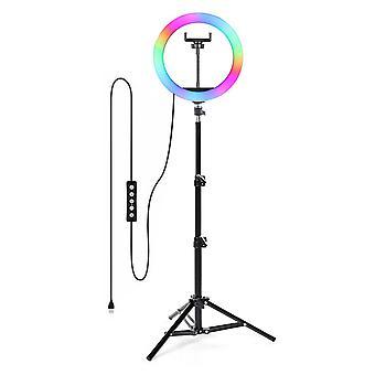 Selfie Flash Dimmable 10 RGB 13'' LED Ring Light Tripod Stand Supporto telefono e borsa