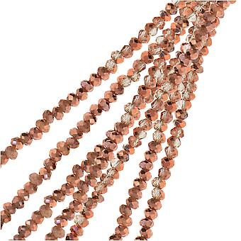 Crystal Beads, Faceted Rondelle 1.5x2.5mm, 2 Strands, Transparent Crystal w/Half Copper Iris
