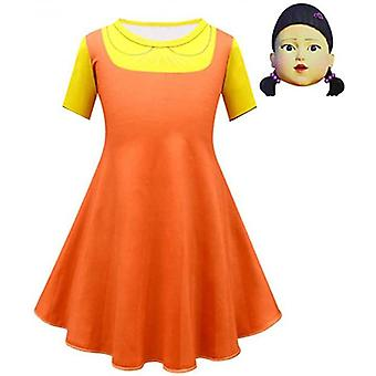 Kalmari peli puinen tyttö puku Halloween naamiaiset Cosplay Mekko
