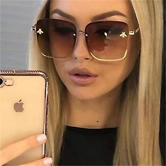 Fashion Lady Oversize Rimless, Square Bee Sunglasses