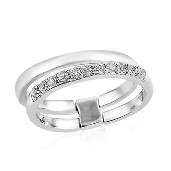 TJC White Zirkon Half Eternity Band Ring Damen in Platin Platt silber 0.25ct(O)