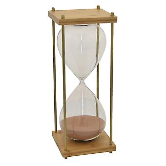 Plutus Brands Bamboo Glass Sand Timer in Pink Glass