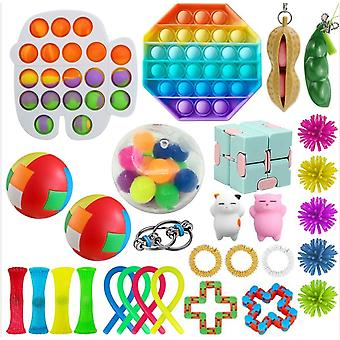 Sensory Toys Set, Relieves Stress And Anxiety  Pop It Fidget Toys For Children Adults, Special Toys Assortment For Birthday Party Favors, Classroom Re
