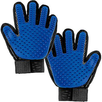 Pet Grooming Rukavice Psí pečující rukavice s nastavitelnými Velcro Uzávěry Pet Rukavice Modré 2ks