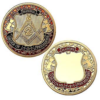الماسونية الأوروبية سكاي العين الذهبي مطلية العملة التذكارية جمع عملة شارة الذهب عملة اللون ميدالية
