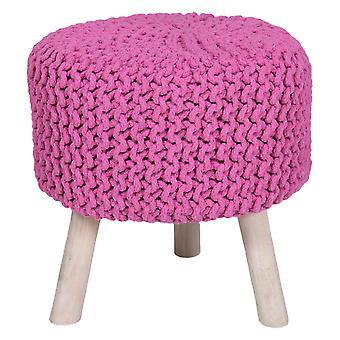 Käsintehty puuvilla punottu jakkara neulottu ottomaanien pouf jalka lepo pehmeät istuimet vaaleanpunainen