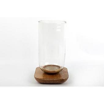 31X18CM HURRICANE GLASS CANDLE TEALIGHT HOLDER STAND WITH WOOD BASE HOME DECORATION