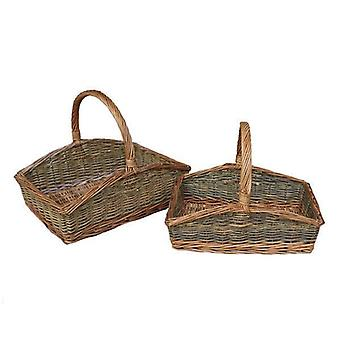 Set of 2 Rectangular Country Unpeeled Garden Trugs