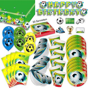 Conjunto de festa de futebol Deco XL 49-Piece para 6 convidados futebol WM Deco pacote do partido