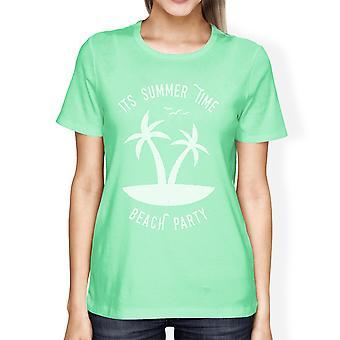 Die Sommer Zeit Beach Party lustige Grafik Sommershirt Womens Mint