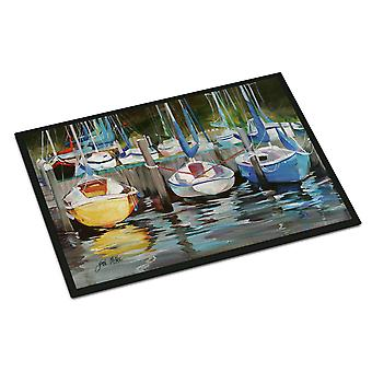 Carolines Treasures  JMK1084MAT Yellow boat Sailboat Indoor or Outdoor Mat 18x27
