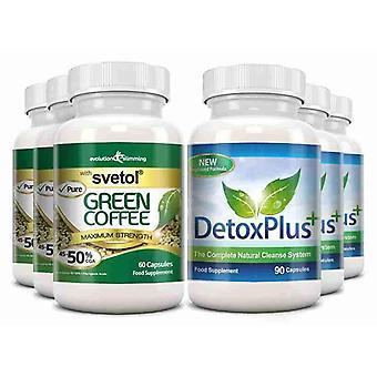 Ren Svetol grøn kaffe bønne 50% CGA og afvænning rense Pack - 3 måneders forsyning - fedtforbrænder og kolon rensning - Evolution slankende
