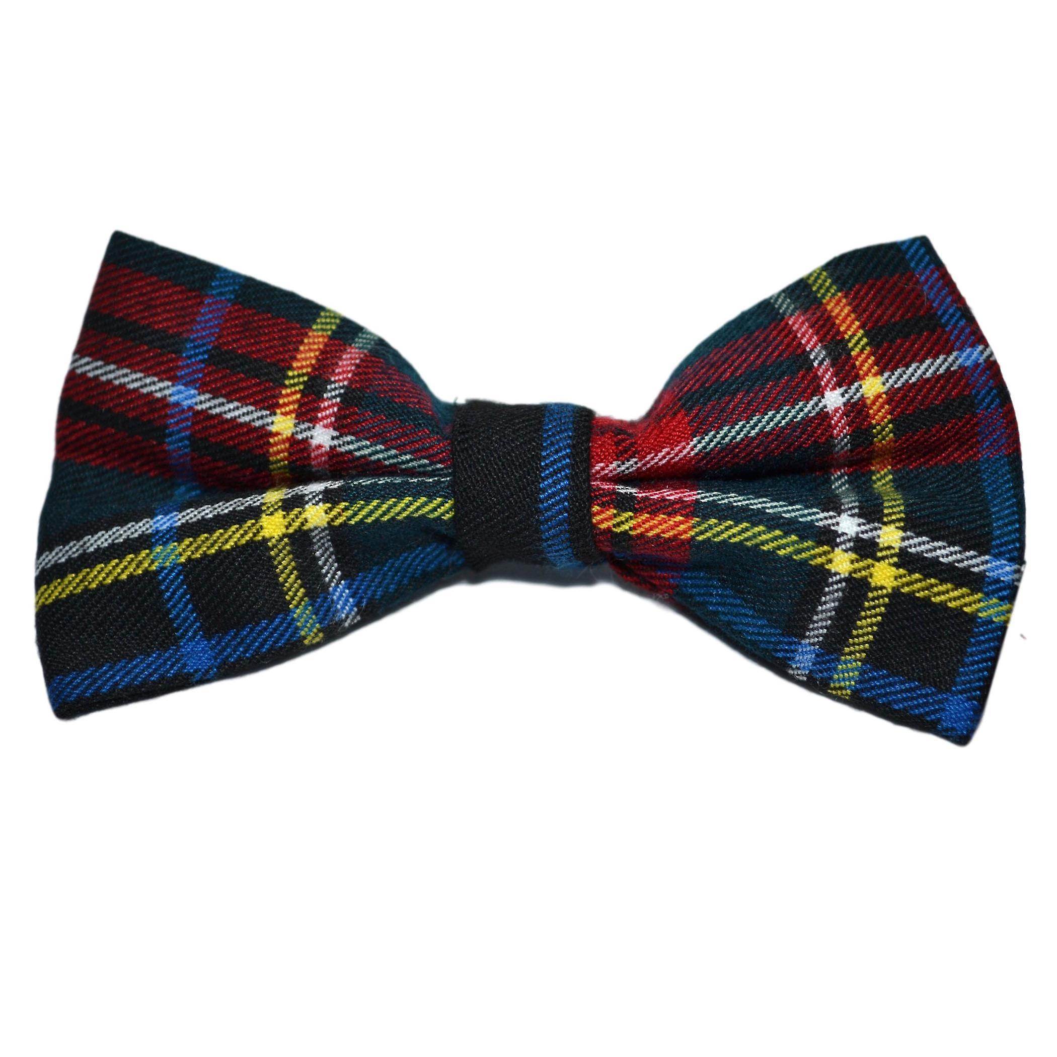 Traditional Dark Green & Black Tartan Bow Tie & Pocket Square Set, Check, Plaid