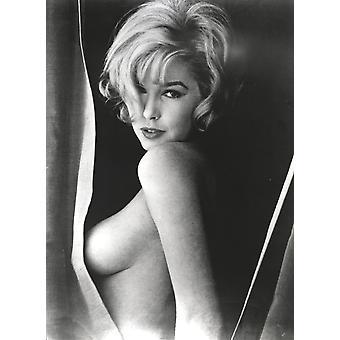 Stella Stevens Topless in schwarz-weiß Portrait Foto-Print