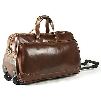 Genuine Italian Leather Rolling Travel Bag Holdall Hand Luggage Duffel Bag Weekend Overnight Brown Unisex