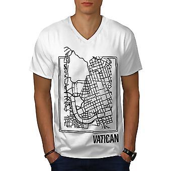 Vatikaani kartta WhiteV-Neck t-paita | Wellcoda