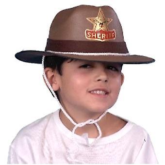 Sombrero de vaquero Sheriff Eva marrón - niño con cable (1)