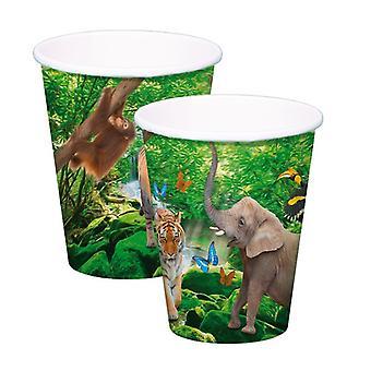 Caneca copo copo Safari crianças festa aniversário 250ml 8pcs