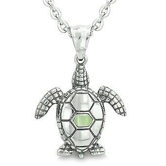 Amulet Sea Turtle Cute Lime Green Cat's Eye Crystal Lucky Charm Pendant on 18 Necklace