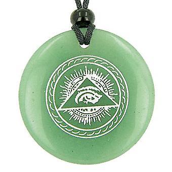 すべて見ている第三の目お守り緑色のアベンチュリン宝石円幸運力ペンダント ネックレス