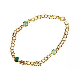 Gemshine Armband Vergoldet Smaragd Chalcedon Grün Meeresgrün Kette
