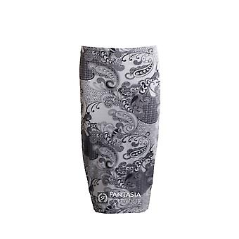Damen schwarz weiß Paisley Print Midi Damen Rock