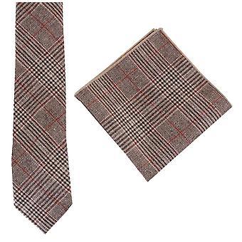 Knightsbridge Krawatten Prince Of Wales Check Krawatte und Einstecktuch Set - braun/rot