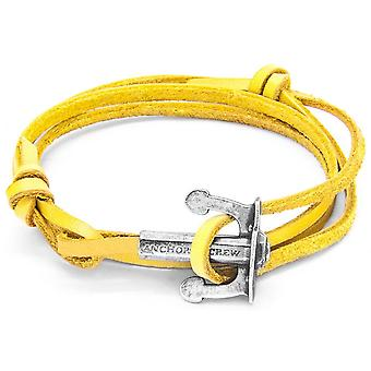 Anchor and Crew Union Silver and Leather Bracelet - Mustard Yellow