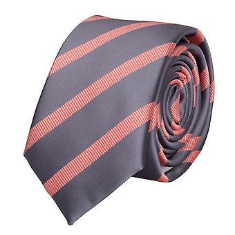 Knyta slips tie slips 6cm silver grå lax Fabio Farini randig