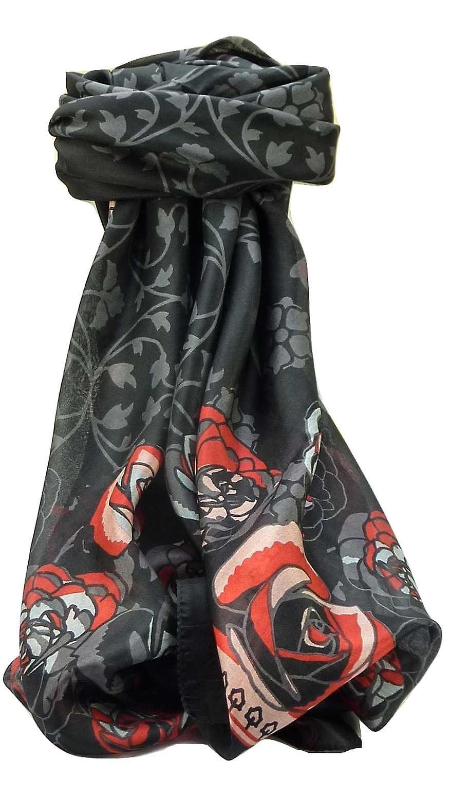 Mulberry Silk Contemporary Square Scarf Devi Black by Pashmina & Silk