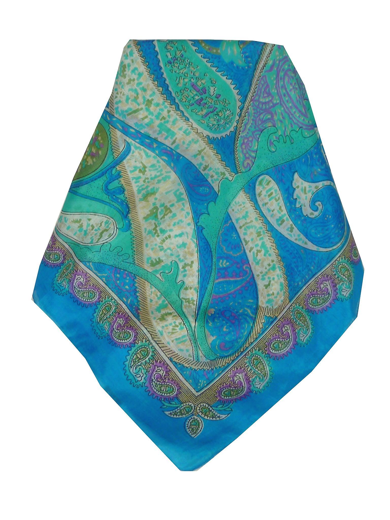 Mulberry Silk Classic Square Scarf Indore Aquamarine by Pashmina & Silk