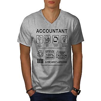 Accountant Multitasking Men GreyV-Neck T-shirt | Wellcoda
