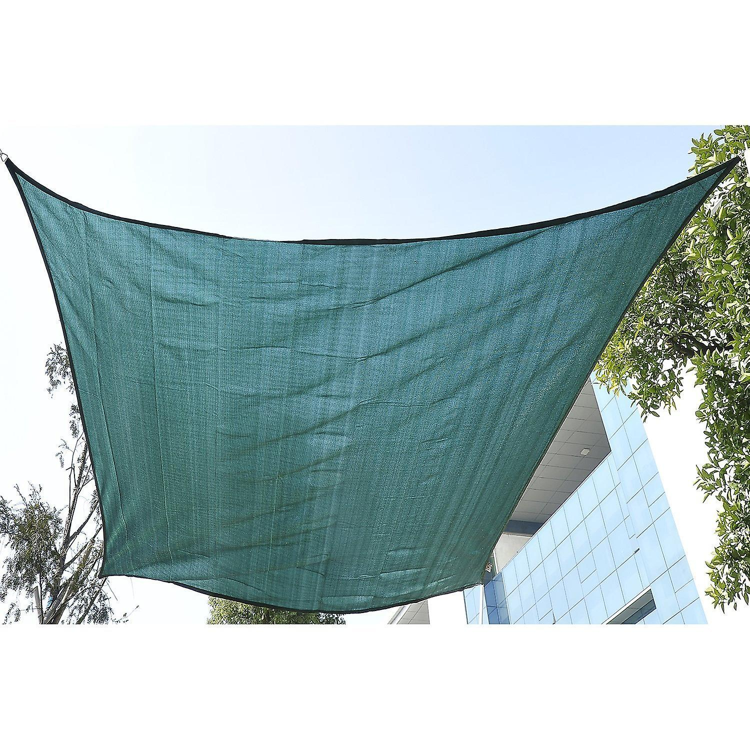 Outsunny 4m x 3m Rectangle Sail Shade Sun Canopy Patio Garden Shade Awning Free Ropes Green