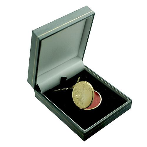 9ct Gold 29mm flat round half hand engraved Locket with a belcher Chain 24 inches