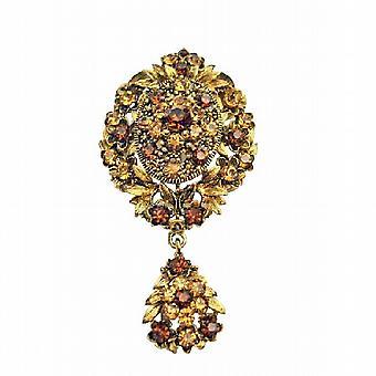 Gold-Vintage-Stil geraucht Topaz Lite geräucherte Kristalle Brosche