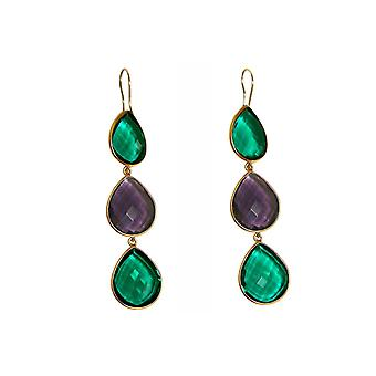Gemshine earrings green tourmalines and purple amethysts 925 silver or gold plated
