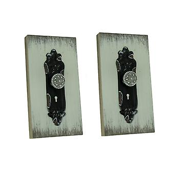 Black Vintage Door Knob On Shabby White Wood Wall Plaques Set of 2