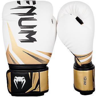 Venum Challenger 3.0 Hook & Loop Boxing Training Gloves - White/Gold