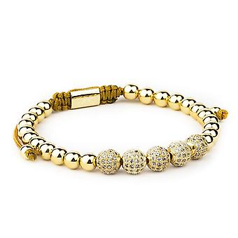 Armband-Goldene Perlen und weißen Strass, Link