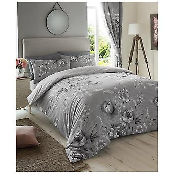 Annie Mono Grey Flowers Duvet Quilt Cover Modern Floral Bedding Set