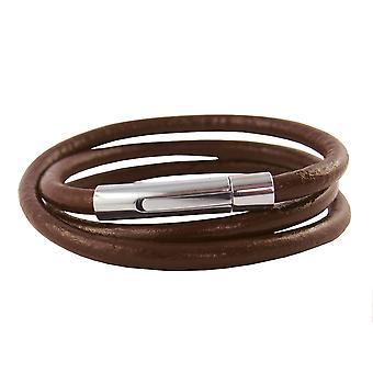 Lederkette 4 mm Herren Halskette Braun 17-100 cm lang mit Hebeldruck Verschluss Silber Rund