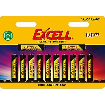 Battery AAA 12-pack Excell Alkaline LR03 Batteries