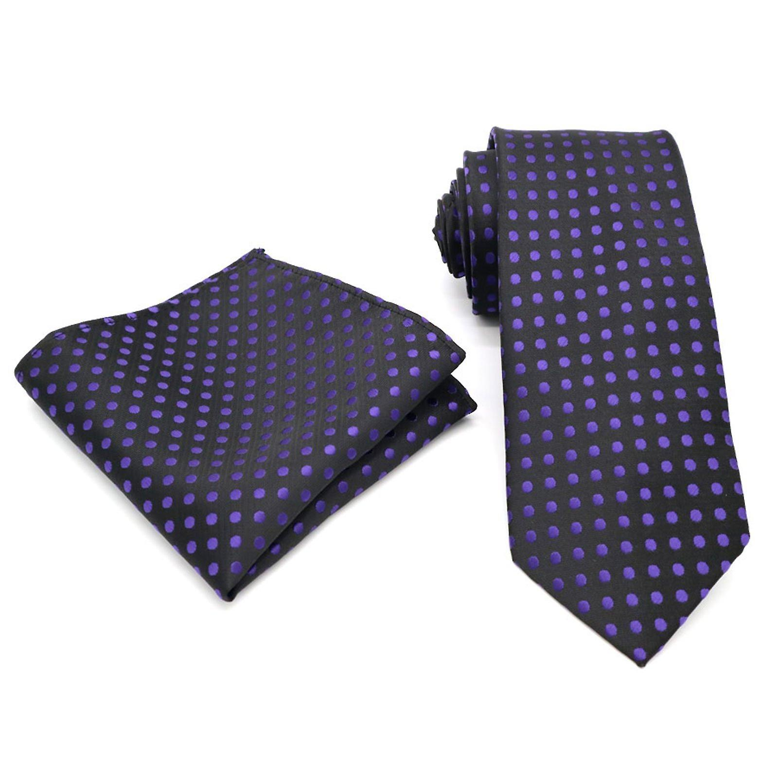 Purple & black polka dot design tie & pocket square set