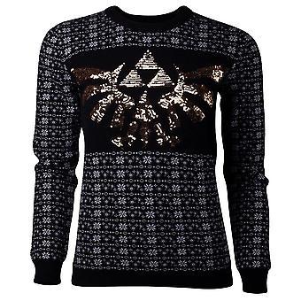 Nintendo Legend af Zelda glitter Tri-Force strikket sweater kvinde stor sort
