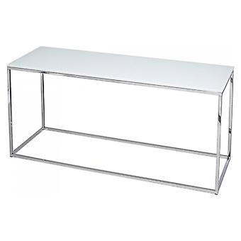 Gillmore White Glass And Silver Metal Contemporary TV Stand