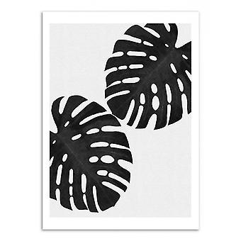Art-Poster - Monstera leaf Black and white - Orara Studio 50 x 70 cm
