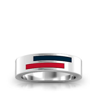 Howard University Sterling Silver Asymmetric Enamel Ring In Blue & Red